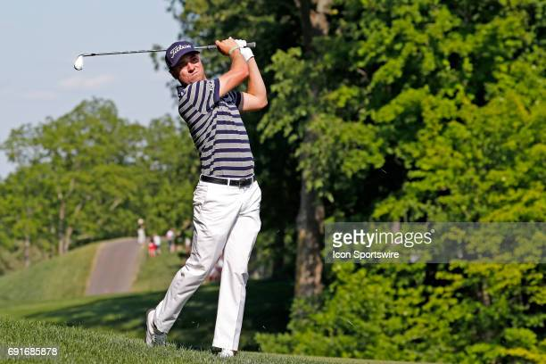 Golfer Justin Thomas hits a shot on the 15th hole during the Memorial Tournament - Second Round on June 02, 2017 at Muirfield Village Golf Club in...