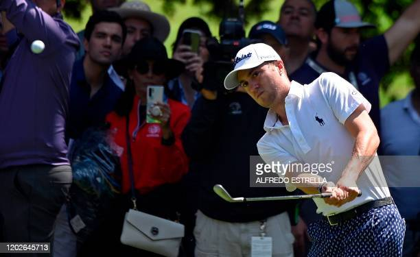 Golfer Justin Thomas hits out of the rough on the 1st hole fairway, during the third round of the World Golf Championship, at Chapultepec's Golf Club...