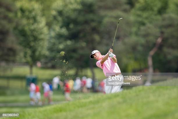 PGA golfer Justin Thomas hitting from the fairway during the Memorial Tournament Final Round on June 4 2017 at Muirfield Village Golf Club in Dublin...