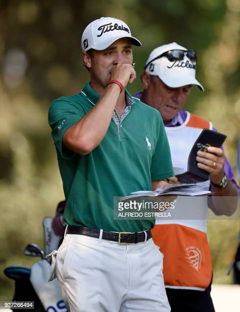US golfer Justin Thomas is pictured at green 16 during the fourth and last round of the World Golf Championship in Mexico City on March 4 2018...
