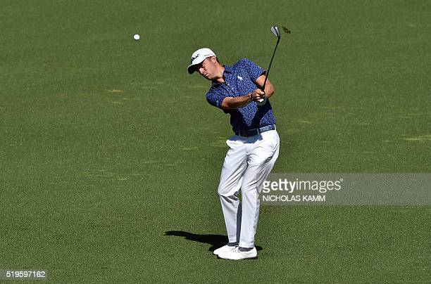 US golfer Justin Thomas plays a shot on the 2nd hole during Round 1 of the 80th Masters Golf Tournament at the Augusta National Golf Club on April 7...