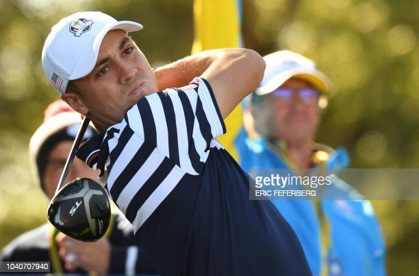 US golfer Justin Thomas plays a tee shot during a practice session ahead of the 42nd Ryder Cup at Le Golf National Course at SaintQuentinenYvelines...
