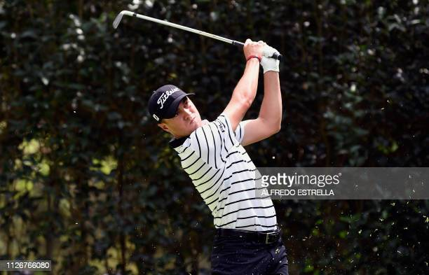 US golfer Justin Thomas plays his shot at the tee 3 during the second round of the PGA World Golf Championship at Chapultepec's Golf Club in Mexico...