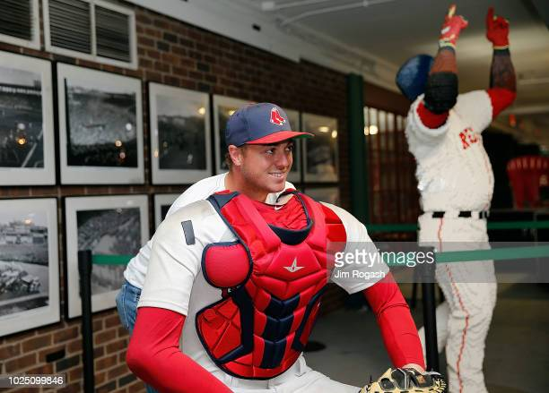 Golfer Justin Thomas poses for a photo during a tour of Fenway Park before a game between the Boston Red Sox and the Miami Marlins on August 29, 2018...