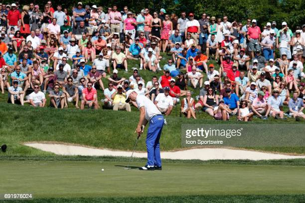 PGA golfer Justin Thomas putts on the 14th hole during the Memorial Tournament Third Round on June 03 2017 at Muirfield Village Golf Club in Dublin...