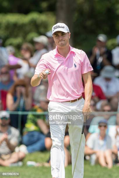 PGA golfer Justin Thomas reacts after missing a long putt during the Memorial Tournament Final Round on June 4 2017 at Muirfield Village Golf Club in...