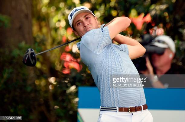 Golfer Justin Thomas tees off at the 11th hole, during the second round of the World Golf Championship, at Chapultepec's Golf Club in Mexico City, on...