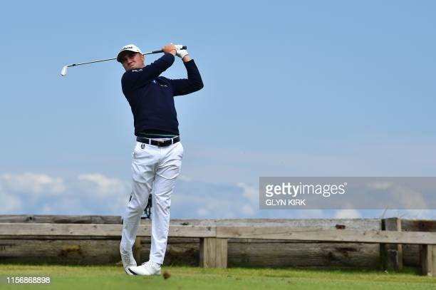 Golfer Justin Thomas tees off from the 6th hole during the third round of the British Open golf Championships at Royal Portrush golf club in Northern...