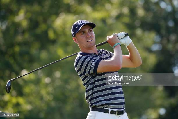 Golfer Justin Thomas tees off on the 18th hole during the Memorial Tournament - Second Round on June 02, 2017 at Muirfield Village Golf Club in...