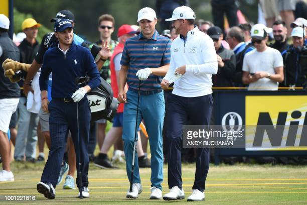 US golfer Justin Thomas US golfer Jordan Spieth and US golfer Jimmy Walker chat as they leave the 9th tee during a practice round at The 147th Open...
