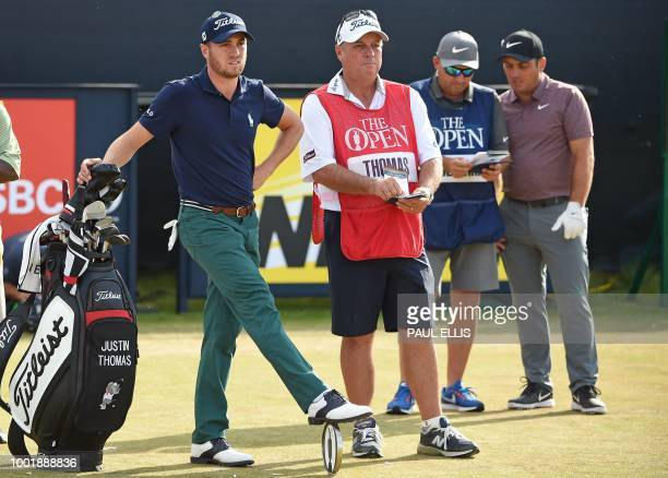 Golfer Justin Thomas waits on the 16th tee during his first round on day one of The 147th Open golf Championship at Carnoustie, Scotland on July 19,...