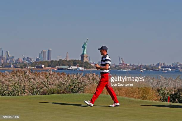 USA golfer Justin Thomas walks the 10th hole during the final round of the Presidents Cup at Liberty National Golf Club on September 30 2017 in...