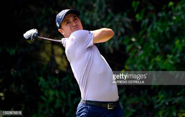 Golfer Justin Thomas watches his tee shot from the 2nd hole, during the third round of the World Golf Championship, at Chapultepec's Golf Club in...