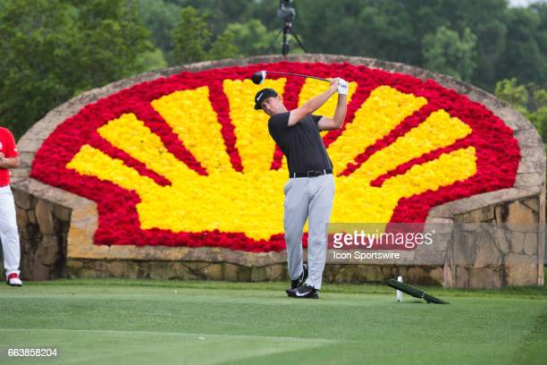 PGA golfer Kevin Chappell plays his shot from the 18th tee during Shell Houston Open on April 02 2017 at Golf Club of Houston in Humble TX
