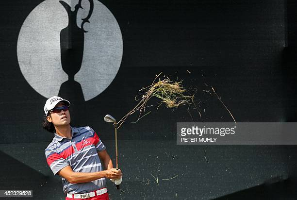 Golfer Kevin Na chips onto the 5th green during his second round, on day two of the 2014 British Open Golf Championship at Royal Liverpool Golf...