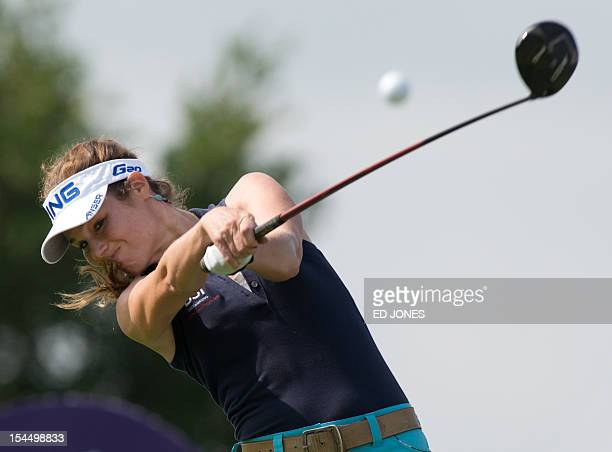 Golfer Liebelei Lawrence of the US tees off on the final day of the World Celebrity ProAm golf tournament at the Mission Hills golf resort in Haikou...