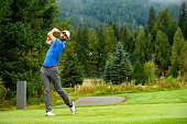 Golfer making the drive