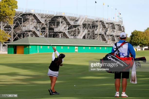 LPGA golfer Maria Fassi hits her second shot on the second hole during the first round of the Indy Women In Tech on September 26 at the Brickyard...