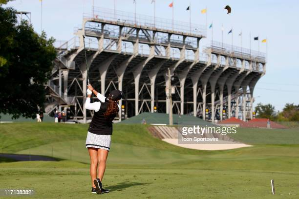 LPGA golfer Maria Fassi hits her tee shot on the 3rd hole during the first round of the Indy Women In Tech on September 26 at the Brickyard Crossing...
