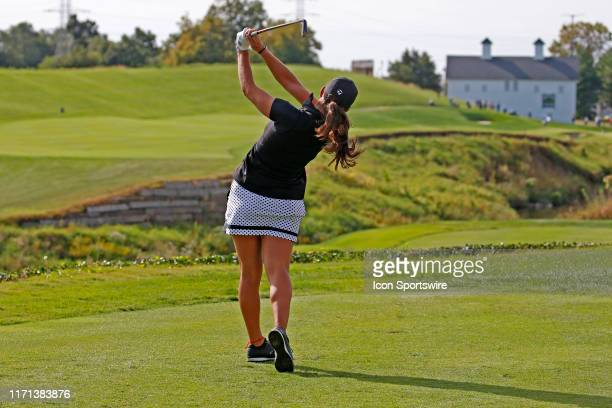 LPGA golfer Maria Fassi hits her tee shot on the 8th hole during the first round of the Indy Women In Tech on September 26 at the Brickyard Crossing...