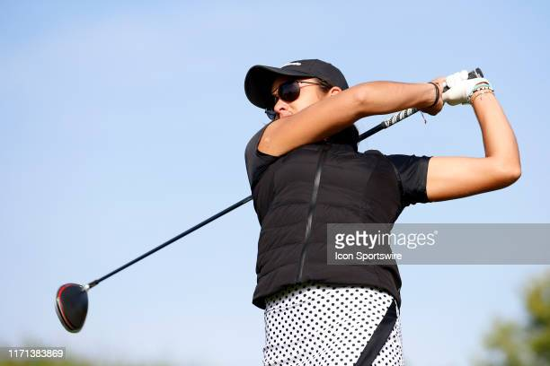 LPGA golfer Maria Fassi hits her tee shot on the fifth hole during the first round of the Indy Women In Tech on September 26 at the Brickyard...