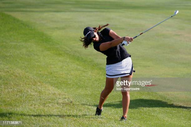 LPGA golfer Maria Fassi plays a shot on the fifth hole during the first round of the Indy Women In Tech on September 26 at the Brickyard Crossing...