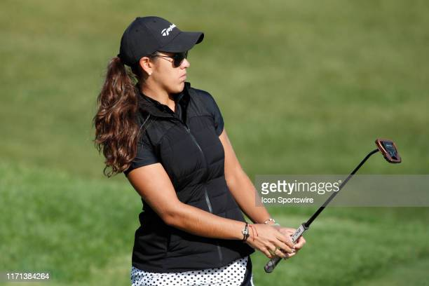LPGA golfer Maria Fassi putts the 5th hole during the first round of the Indy Women In Tech on September 26 at the Brickyard Crossing Golf Club in...