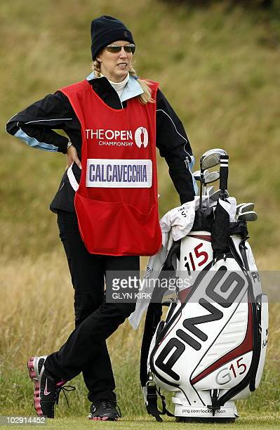 US golfer Mark Calcavecchia's caddie and wife Brenda on the 17th hole during his opening Round on the first day of the British Open Golf Championship...
