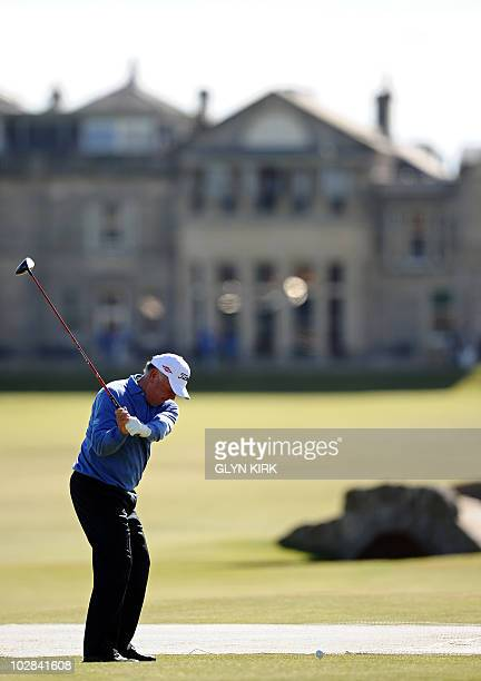 US golfer Mark O'Meara plays from the 18th tee during a practice round at St Andrews in Scotland on July 13 ahead of The 2010 Open Golf Championship...