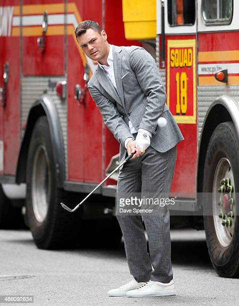 Golfer Martin Kaymer playing golf around the streets of Manhattan whilst doing a photo shoot on August 31 2015 in New York City