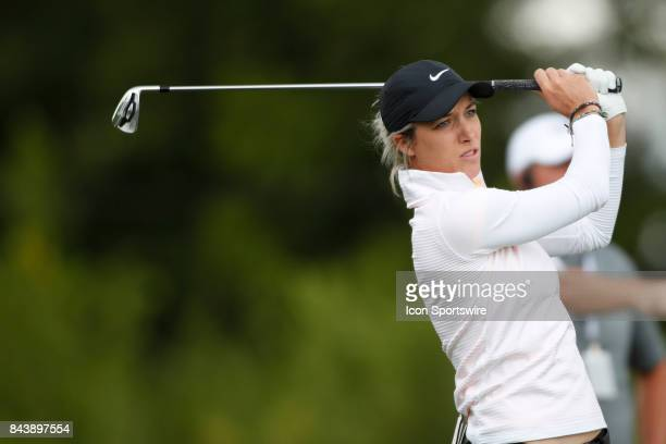 LPGA golfer Mel Reid tees off on the 7th hole during the first round of the Indy Women In Tech on September 7 2017 at the Brickyard Crossing Golf...