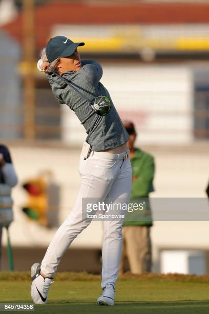 LPGA golfer MelReid during the final round of the Indy Women In Tech on September 9 2017 at the Brickyard Crossing Golf Club in Indianapolis Indiana