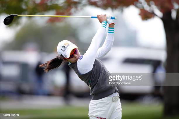 LPGA golfer Mi Hyang Lee tees off on the 9th hole during the first round of the Indy Women In Tech on September 7 2017 at the Brickyard Crossing Golf...