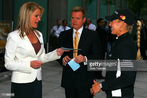 Golfer Natalie Gulbis of the LPGA Tour is interviewed by the hosts of Fox's Dayside show Mike Jerrick and Juliet Huddy to promote the HSBC Womens...