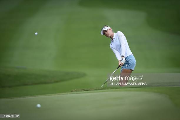 US golfer Nelly Korda hits a shot during the Honda LPGA golf tournament at the Siam Country Club in the coastal Thai province of Chonburi on February...