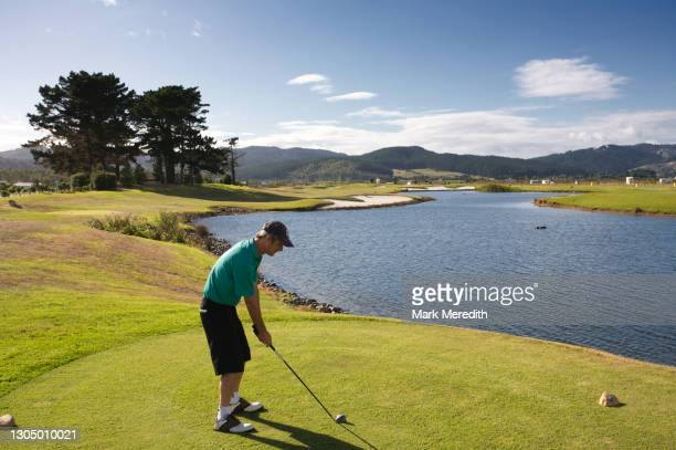 golfer on tee by lake - teeing off stock pictures, royalty-free photos & images