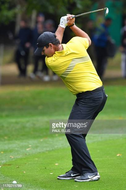 Golfer Patrick Reed plays from the 17th fairway on Day 4 of the golf PGA Championship at Wentworth Golf Club in Surrey, south west of London, on...