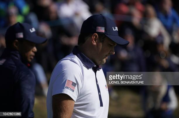 US golfer Patrick Reed takes part in his fourball match on the second day of the 42nd Ryder Cup at Le Golf National Course at SaintQuentinenYvelines...