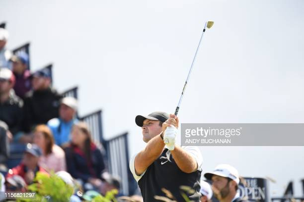 US golfer Patrick Reed tees off at the 3rd hole during the third round of the British Open golf Championships at Royal Portrush golf club in Northern...