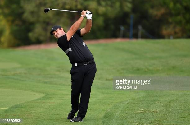US golfer Patrick Reed tees off during the DP World Tour Championship at Jumeirah Golf Estates in Dubai on November 21 2019