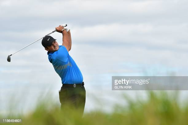 US golfer Patrick Reed tees off from the 2nd hole during the second round of the British Open golf Championships at Royal Portrush golf club in...