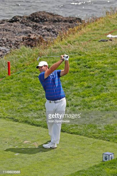 PGA golfer Patrick Reed tees off on the 8th hole during a practice round for the 2019 US Open on June 11 at Pebble Beach Golf Links in Pebble Beach CA
