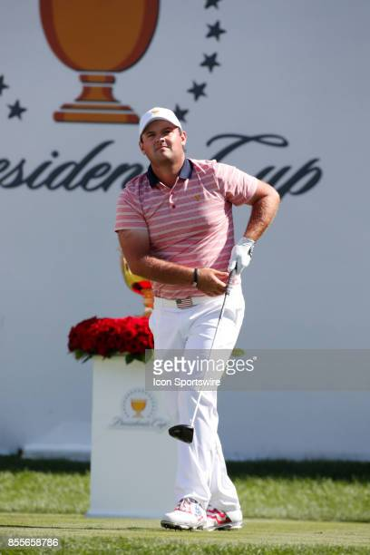 USA golfer Patrick Reed tees off on the first hole during the second round of the Presidents Cup at Liberty National Golf Club on September 29 2017...