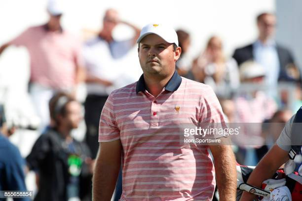 USA golfer Patrick Reed walks the first hole during the second round of the Presidents Cup at Liberty National Golf Club on September 29 2017 in...