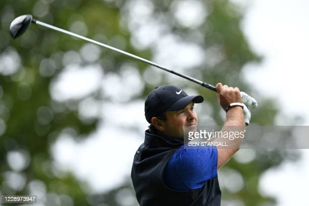 Golfer Patrick Reed watches his drive from the 3rd tee during his second round on Day 2 of the PGA Championship at Wentworth Golf Club in Surrey,...