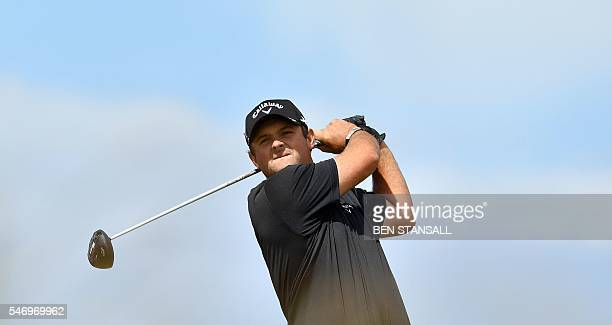 US golfer Patrick Reed watches his drive from the 6th tee during practice on July 13 ahead of the 2016 British Open Golf Championship at Royal Troon...