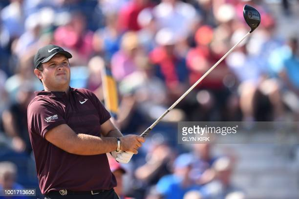 US golfer Patrick Reed watches his shot from the 3rd tee during his first round on day one of The 147th Open golf Championship at Carnoustie Scotland...