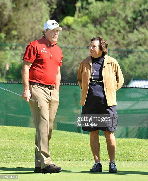Golfer Phil Mickelson and WPGA Golfer Amy Alcott chat during the Northern Trust ProAm at Riviera Country Club on February 18 2009 in Pacific...