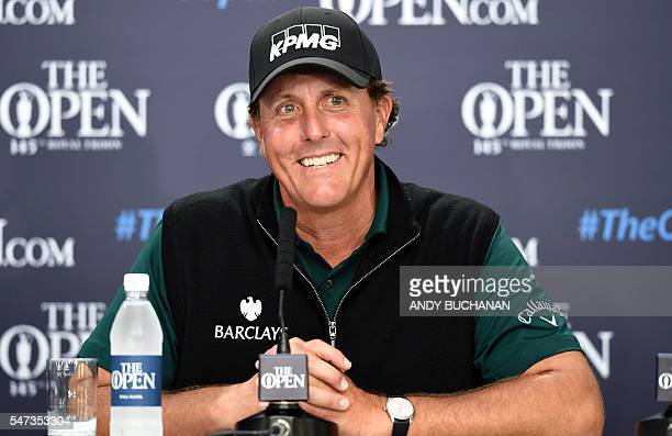 US golfer Phil Mickelson speaks to members of the media at a press conference after his first round 63 on the opening day of the 2016 British Open...