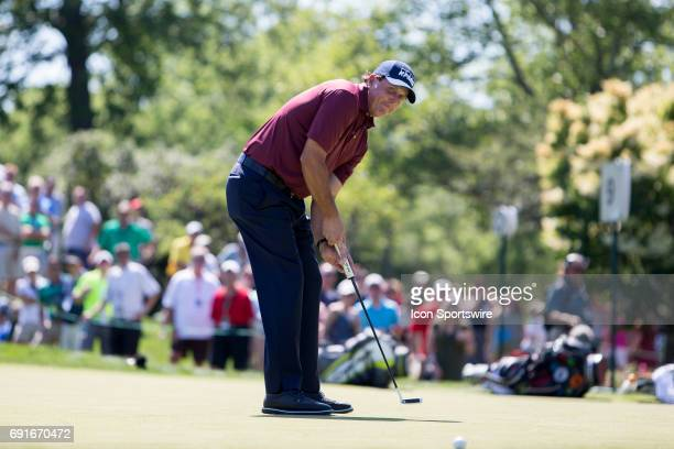 PGA golfer Phil Mickelson watches his long putt during the Memorial Tournament Second Round on June 2 2017 at Muirfield Village Golf Club in Dublin...